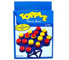 Travel-sized = great for the itinerant SLPs.  Topple involves fine motor skills so I've used it w/kids who also need OT.  I use it as a reward - i.e., the kid rolls a 4 in the game,has to say 4 words, then go on 4 in the game. I have a generic version I got for $1!