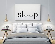 sleep Bedroom Printable Poster Typography Print Black & (Diy Bedroom)