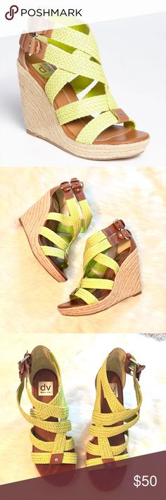 Dolce Vita Lime Green Strap Wedge Size 9 Here we have a pair of Dolce Vita Lime Green Strappy Wedge Heels in size 9. Box is NOT included. These shoes are in excellent condition like new. They were worn once. Really nice! Perfect for summer!!! Dolce Vita Shoes Wedges
