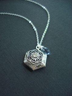 Silver Hexagonal Locket, Teardrop Necklace, White, Blue, Gift For Her Under 50