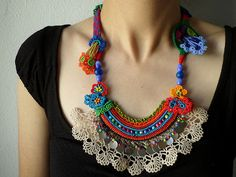 beaded crochet statement necklace - with orange, red, blue and green beaded flowers and cream crochet lace by irregularexpressions | Flickr - Photo Sharing!