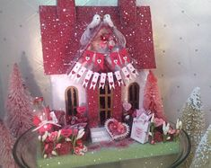 Valentines Putz House  Red and White Banner and Perfume ( Large)