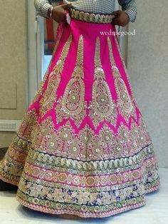 bright pink lehenga with blue border,Kala Shree- Karol Bagh , pink and blue,Kala Shree Indian Bridal Lehenga, Indian Bridal Fashion, Indian Bridal Wear, Indian Wedding Outfits, Red Lehenga, Bridal Outfits, Indian Wear, Indian Outfits, Anarkali