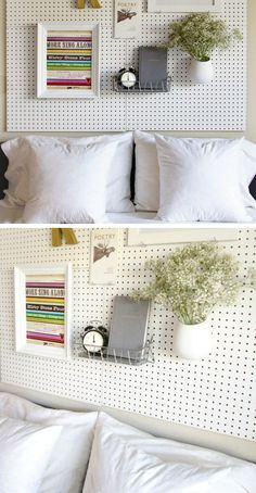 Pegboard Headboard   Click for 18 DIY Headboard Ideas   DIY Bedroom Decor Ideas on a Budget