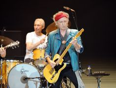 Charlie and Keith on stage with the Rolling Stones in London tonight