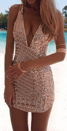 #summer #seaside #outfits | Golden Striped Sequin Plunging Neckline Sleeveless Bodycon Homecoming Party…