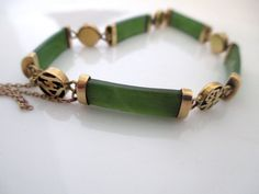 Jade bracelet and earrings stunning estate by vintageboxofdelights