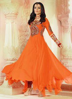 Orange Celina Jaitley Floor Length Anarkali