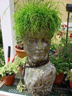 head planter creations | Female Planter Head - It's all the same planter, just different plants