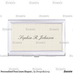 Personalized Faux Linen Elegant Beige Business Card Case