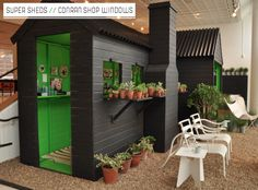 The Conran Shop: Shed Chic Window Display - Bright Bazaar by Will Taylor Backyard Office, Backyard Sheds, Garden Sheds, Outdoor Living, Outdoor Decor, Outdoor Seating, Indoor Outdoor, Small Sheds, Retail Store Design
