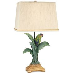 Pacific Coast Tropical Parrot Table Lamp ($229) ❤ liked on Polyvore featuring home, lighting, table lamps, green, green table lamp, parrot lamp, coast lamps, handmade lamps and pacific coast lighting