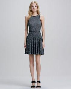 Jewel-Neck Pleated Skirt Dress  by Tibi at Neiman Marcus.
