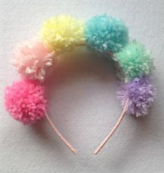 Pastel Rainbow Pom Pom Headband by messypink on Etsy