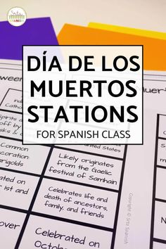 Check out some engaging options for station ideas, cultural activities, and crafts you could include for Day of the Dead Activities for Spanish class! Help your students or kids learn everything about the Day of the Dead with this collection of Día de los Muertos lesson plans and resources. This post is great for any middle or high school Spanish class studying el Día de los Muertos, the Day of the Dead. Class decor, writing activities, games, and more included! Click through to learn more!