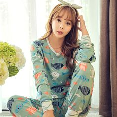 New hot 2016 Musim Semi Musim Gugur Womens Pajama Set O-Neck Lengan Panjang Wanita Pakaian Tidur Piyama gadis baju tidur untuk wanita pengiriman gratis
