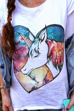 Galaxy Unicorn Story - Io e la storia dell' Unicorno ! Airbrush, Dyi, Street Style, T Shirts For Women, Jeans, Clothing, Fashion, Business, Air Brush Machine