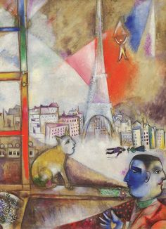 Marc Chagall - Paris Through the Window. 1000-Piece Puzzle. The enlisted man in the picture, with his right thumb pointing out the window and his left index finger pointing to the cup, is similar to the two-faced man in Paris Through the Window in that both figuratively mediate between dual worlds—interior versus exterior space, past and present, the imaginary and the real.