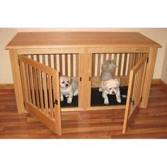 double wood dog crate small