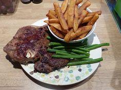 [Homemade] Medium Rare T-Bone Steak With Thick Cut Chips Green Beans & A Side Of Peppercorn Sauce