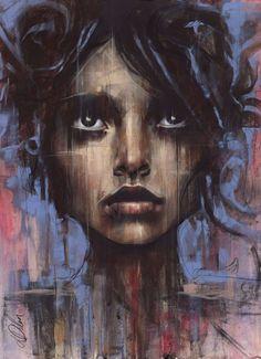 Non Nude OIL & ACRYLIC CANVAS Painting ORIGINAL Portrait By L Dolan 32x23 Grace