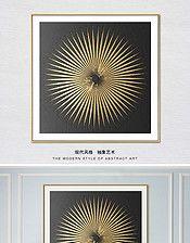 北欧简约抽象圆圈凹凸金色金箔客厅装饰画
