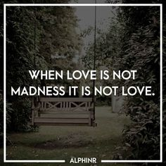 When love is not madness it is not love. at Alphinr Instagram Story, Love, Quotes, Amor, Quotations, Qoutes, Quote, Shut Up Quotes, Romances