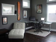 Cozy Office Decorating Ideas For Men At Home: Astonishing Dark Wooden Flooring Modern Style White Lounge Office Decorating Ideas For Men Wit...