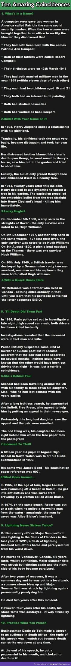 10 Amazing Coincidences. I don't if they're true but I hope they are