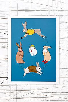 East End Prints: Oval Rabbits Wall Art