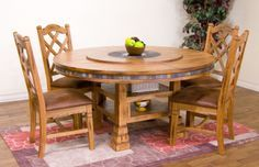 "Sedona 60"" Round Table w/ Lazy Susan Dining Room Set 