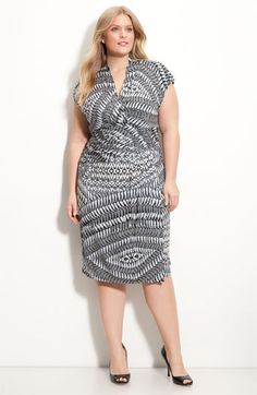 Suzi Chin for Maggy Boutique Print Cap Sleeve Knit Dress (Plus) $108.00