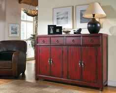Hooker Red Asian Console HO-500-50-711 / Traditional Hooker Occasinal Furniture  Size: 58.25 in. W x 15.5 in. D x 40.25 in. H