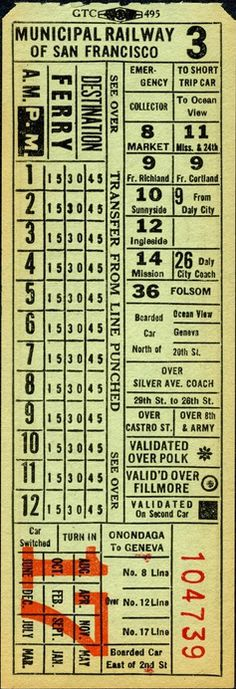 Transfer from Municipal Railway of San Francisco (date unknown; 1942 or shortly afterward).  This design is essentially unchanged from MSR's second series except for the name of the operator.