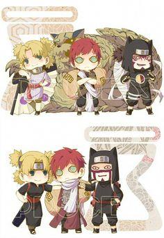 Sand Siblings, Temari, Gaara, Kankuro, cute, chibi, Shukaku, Bijuu, Jinchuuriki, One Tail, time lapse, different ages, young, childhood; Naruto