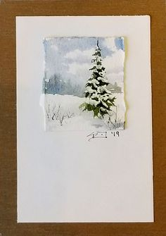 Original watercolor painting mounted on paper and mat board. Suitable for framing or table easel. Tree Watercolor Painting, Watercolor Cards, Watercolor Landscape, Gouache Painting, Landscape Paintings, Christmas Paintings, Christmas Art, Simple Christmas, Watercolor Christmas Cards