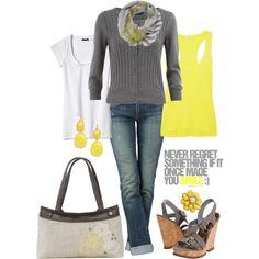 Thirty -One Grey & Yellow