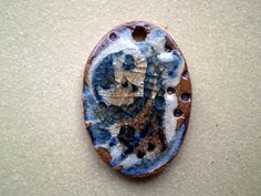 Ceramic and Glass Oval Bead Rustic Nature by spinningstarstudio, $4.50