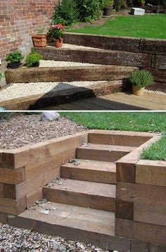 Small Garden Fountains, DIY and Crafts, Adding DIY steps and stairs to your garden or yard is a great way to enhance your outdoor landscaping whether they are perfectly flat or happen to sit. Outdoor Walkway, Outdoor Steps, Outdoor Landscaping, Front Yard Landscaping, Landscaping Ideas, Railroad Ties Landscaping, Paver Walkway, Landscaping Software, Landscaping Plants