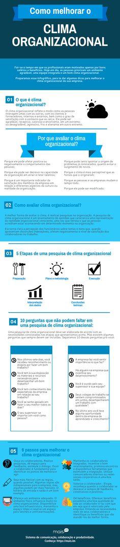Quer saber como melhorar o clima organizacional? Então confira o infográfico que preparamos para você, entenda porque é importante avaliá-lo e muito mais.