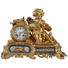 Napoleon III Gilt Bronze and Porcelain Mantel Clock | 1stdibs.com