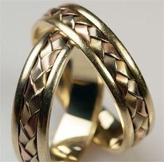Braided style unusual wedding rings