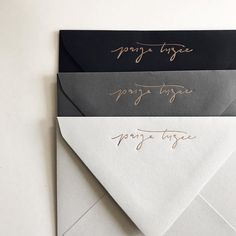 Rose gold branded deep v envelopes 💌