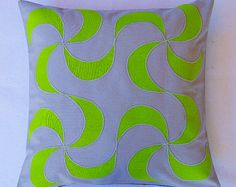 Grey Decorative Pillow Grey green throw pillow cover Grey Couch Cushion lime custom applique pillows