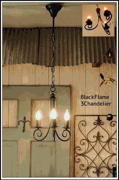 送料無料/シンプルデザイン アイアンシャンデリアブラック3灯 - SELFISH(セルフィッシュ)-照明・家具・雑貨-