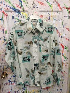 Mens vintage polyester pimp nylon disco button down by RagsAGoGo