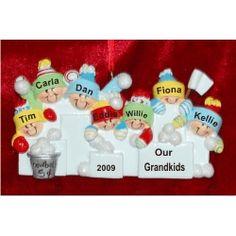 7 Grandchildren - Snowball Fun - Personalized Family Christmas Ornament
