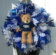 Penn State Lion Mesh Wreath Door Decor Dorm College Decor by MeshWreathsnMore on Etsy
