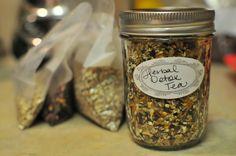 ★★★ Herbal Detox Tea~ Mix equal parts: DANDELION Root • BURDOCK root • ORANGE peel • HIBISCUS flowers • ROSE HIPS • MILK THISTLE seed • CINNAMON stick (Makes a beautiful, dark tea.  Sweeten w/ honey or stevia, if desired.  I omitted the Milk Thistle because I had none.)
