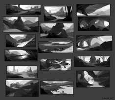 Digital Painting Tutorials, Digital Art Tutorial, Art Tutorials, Digital Paintings, Environment Sketch, Environment Design, Landscape Concept, Landscape Art, Thumbnail Sketches